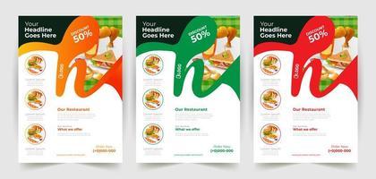 vågiga färgglada restauranger flygblad design vektor