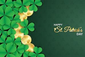 st. Patrick's Day affisch med shamrocks och guldmynt vektor