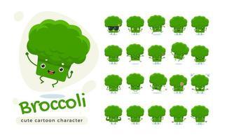 niedlicher grüner Brokkoli-Zeichensatz vektor