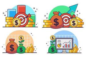 pengar mål uppsättning vektor