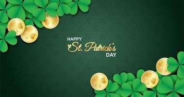 st. Patricks affisch med shamrocks och mynt i hörn