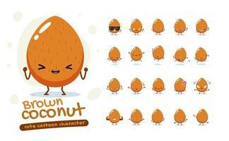 brauner Kokosnuss Maskottchen Zeichensatz