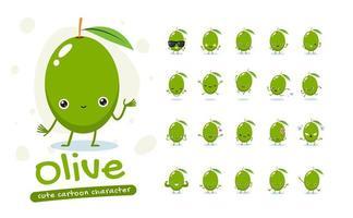 Zeichensatz für Maskottchen aus grünen Oliven