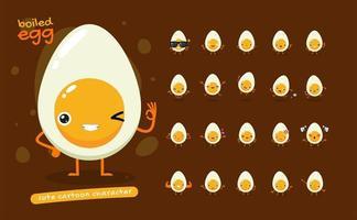 kokt ägg maskot teckenuppsättning