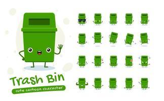 Mülleimer Maskottchen Zeichensatz