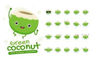 grüner Kokosnuss-Maskottchen-Zeichensatz