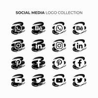sociala medier logosamling i svartvitt. vektor