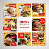burger sociala medier postuppsättning med gult tema vektor