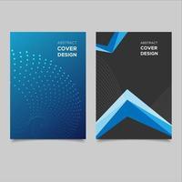 abstrakt blå och svart täckmall vektor