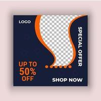 orange och svart försäljning sociala medier post mall