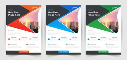 företagsreklamblad med kontakt- och platsinformation vektor