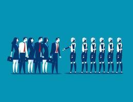 Gruppen von Robotern und menschlichen Geschäftsleuten, die sich die Hände schütteln