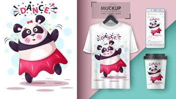dansande panda mock ups vektor