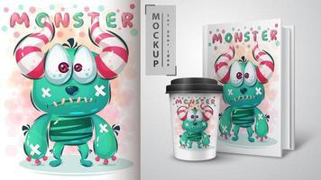 traurige Monsterkarte und Merchandising vektor