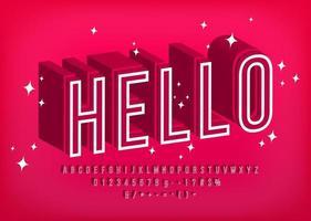 moderne 3D-Schrift Hallo, Umriss Alphabet