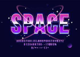 Raum Alphabet Retro Sci-Fi Schriftart vektor