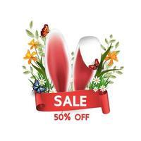 påsk försäljnings banner med kaninöron och blommor
