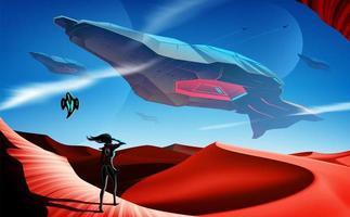 Raumschiffflotte fliegt über Wüste
