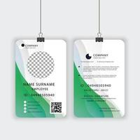 officiella ID-kortmall i grönt och vitt vektor