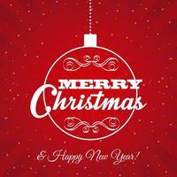 röd jul och nyårs hälsning vektor