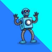 blå robot characterdesign