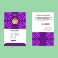 lila och vita rena ID-kort formgivningsmall