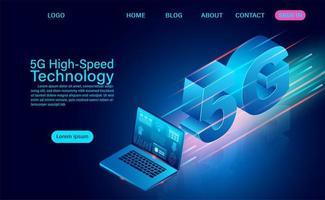 5g Hochgeschwindigkeitstechnologie mit Laptop vektor