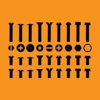Schrauben Muttern und Schrauben-Vektor-Icons