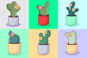 färgglada kaktusuppsättning vektor