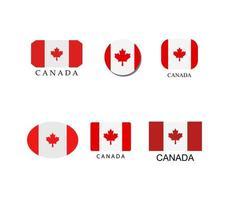 Kanadensiska flaggan Ikonuppsättning vektor