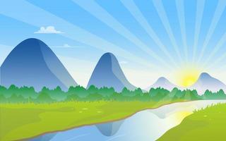 Blick auf die Berge mit Fluss und Sonnenaufgang am Horizont