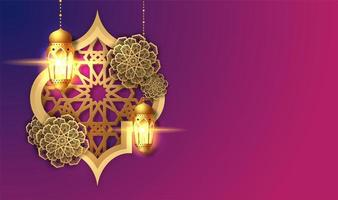 rosa och lila ramadan kareem lykta kort