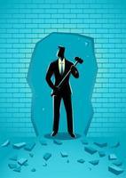 Geschäftsmann Silhouette mit Hammer brechen Wand