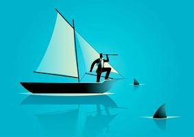 affärsman silhuett i båt omgiven av hajar vektor