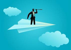 Geschäftsmannschattenbild mit Teleskop auf Papierflugzeug