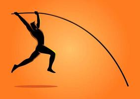 sport silhuett stång vaulter vektor