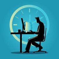 affärsman silhuett arbetar övertid
