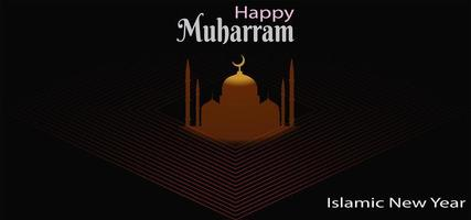 islamisches Neujahrsbanner mit Moschee im Diamanten vektor