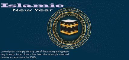 Verziertes Festivalbanner des islamischen Neujahrs vektor