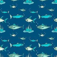 sömlösa mönster av fisk i havet