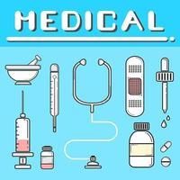 uppsättning platt stil medicinska verktyg på blå