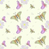 fliegender Schmetterling und Blume nahtloses Muster vektor