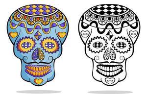Satz mexikanische Zuckerschädel mit Schnurrbart vektor