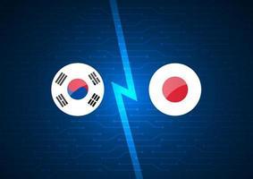 koreanische und japanische Flaggen auf leuchtendem Schaltungshintergrund vektor