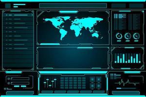 Weltkartentechnologie zukünftige Schnittstelle hud vektor