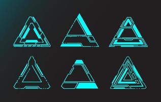 detaljerade triangel futuristiska gränssnittselement vektor