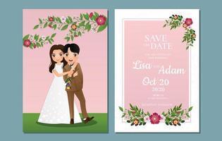 Blumen speichern Sie das Datum mit Braut und Bräutigam im Freien