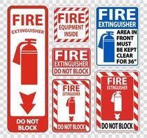 Feuerlöscher Zeichen Symbol Zeichen Satz