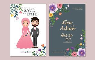 Speichern Sie die Datumskarte mit Paar und Blumen