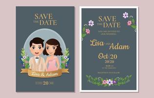 Speichern Sie die Datumskarten mit Paar im blauen Rahmen